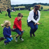 Teaching Theo and Lotte how to fly broomsticks at Alnwick Castle, Summer 2016.