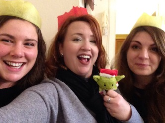 Proper christmas crowns with Jenny, Sammi and Yoda, Christmas 2016.