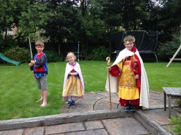 Emperor Felix, his Empress Lotte, and Sir Theo in the back garden, summer 2016.